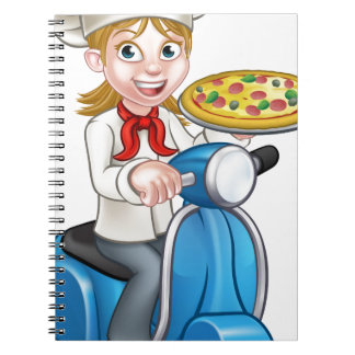 Cartoon Woman Pizza Chef on Moped Scooter Notebooks