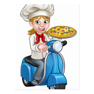 Cartoon Woman Pizza Chef on Moped Scooter Postcard