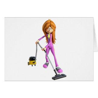 Cartoon Woman Using A Vacuum Card