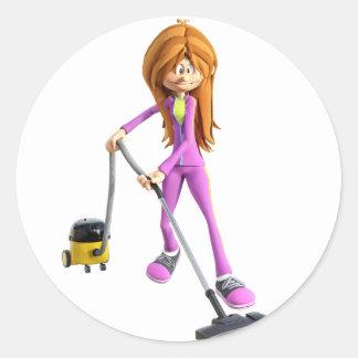 Cartoon Woman Using A Vacuum Classic Round Sticker