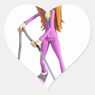 Cartoon Woman Using A Vacuum Heart Sticker