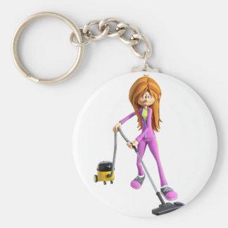 Cartoon Woman Using a Vacuum Keychain