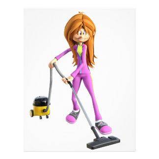 Cartoon Woman Using A Vacuum Letterhead