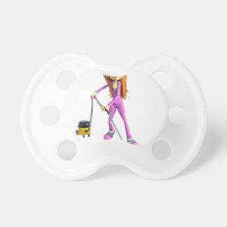 Cartoon Woman Using A Vacuum Pacifier