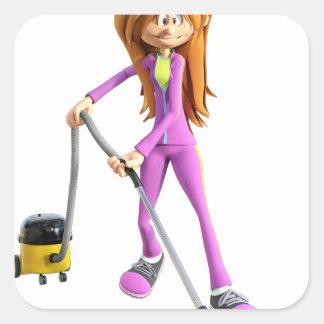 Cartoon Woman Using A Vacuum Square Sticker