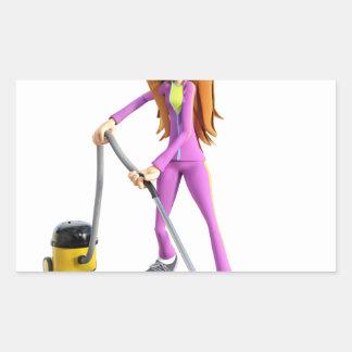 Cartoon Woman Using A Vacuum Sticker
