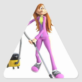 Cartoon Woman Using A Vacuum Triangle Sticker