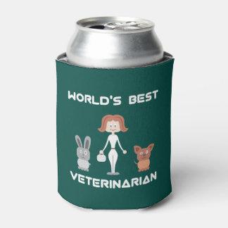 Cartoon World's Best Female Veterinarian Can Cooler