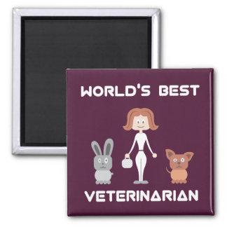 Cartoon World's Best Female Veterinarian Magnet