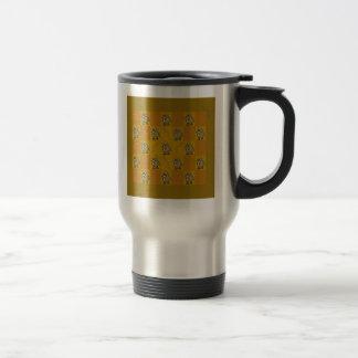 Cartoon yak needs caffeine. travel mug