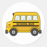 Cartoon Yellow and Black School Bus Round Sticker