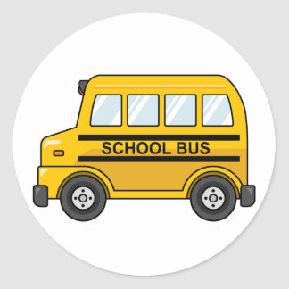 Cartoon Yellow and Black School Bus Round Sticker