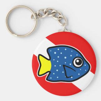 Cartoon Yellowtail Damselfish Dive Flag Keychain