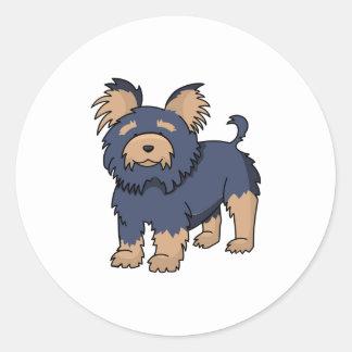 Cartoon Yorkshire Terrier Round Sticker