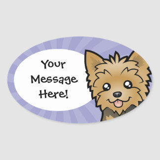 Cartoon Yorkshire Terrier (short hair no bow) Oval Sticker