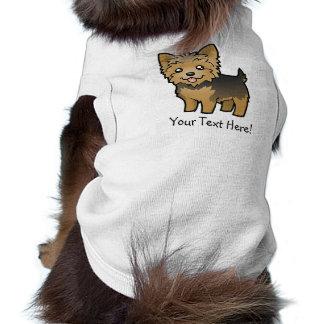 Cartoon Yorkshire Terrier (short hair no bow) Pet T-shirt