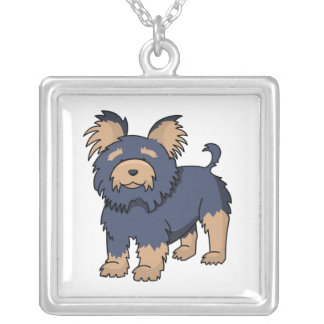 Cartoon Yorkshire Terrier Silver Plated Necklace