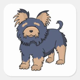 Cartoon Yorkshire Terrier Square Sticker