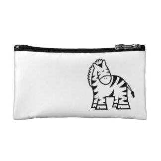 Cartoon Zebra Small Cosmetic Bag