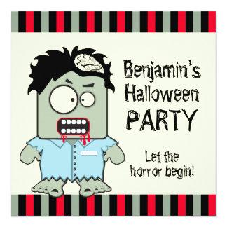 "Cartoon Zombie Halloween Party 5.25"" Square Invitation Card"