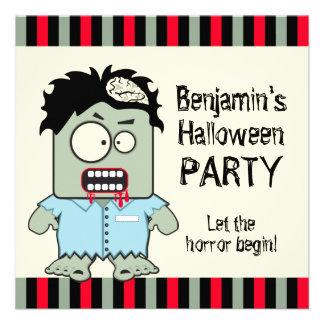 Cartoon Zombie Halloween Party Custom Invitations