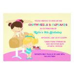 Cartwheels and Cupcakes Gymnastics Birthday Party Custom Invite