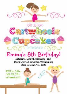 Cartwheels Cupcakes Gymnastics Birthday Party Card