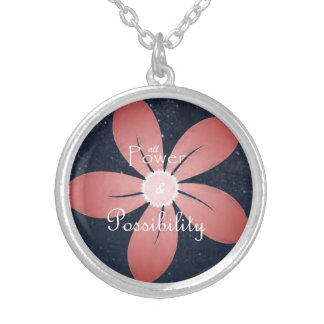 """Carve the Mark - """"Hushflower"""" Quote Silver Plated Necklace"""