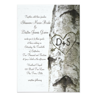 "Carved Heart Birch Tree Wedding 5"" X 7"" Invitation Card"