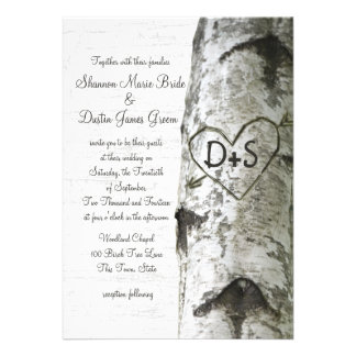 Carved Heart Birch Tree Wedding Invitations