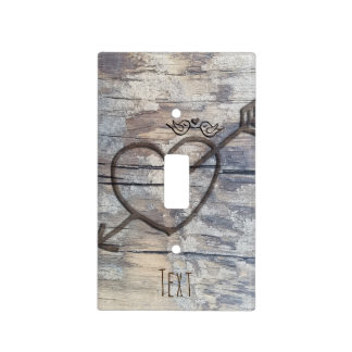 Carved Heart in Wood Love Birds Personalized Light Switch Cover