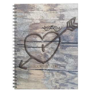 Carved Heart in Wood Love Birds Rustic Notebook