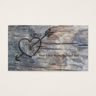 Carved Heart in Wood Love Birds Wedding Table Card