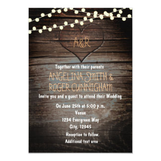 Carved Heart in Wood & String Lights Wedding Card