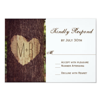"Carved Heart Rustic Tree Wedding RSVP Cards 3.5"" X 5"" Invitation Card"