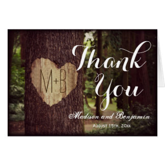 Carved Heart Rustic Tree Wedding Thank You Cards