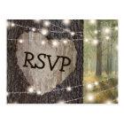 Carved Heart Tree Wedding RSVP Postcard
