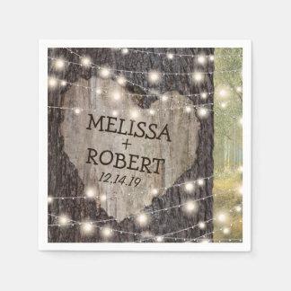 Carved Heart Tree Wedding | Rustic String Lights Paper Napkins