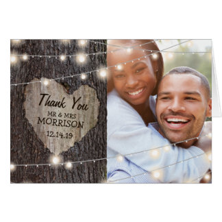 Carved Heart Tree Wedding Thank You Card