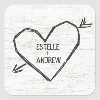 Carved Heart with Names Square Sticker