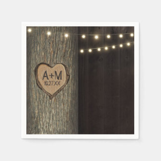 Carved Initials Old Oak Tree Wedding Napkins Paper Napkin