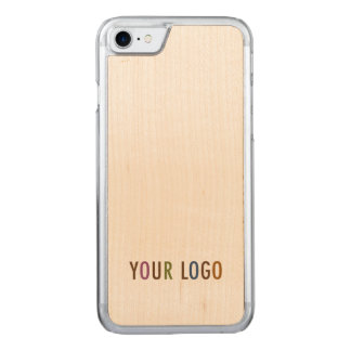 Carved iPhone 7 Case Maple Wood Business Logo Bulk