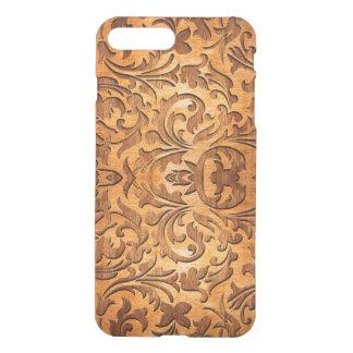 Carved Natural Brown Wood Vintage Floral Design iPhone 7 Plus Case