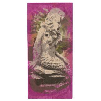 carved stone mermaid maple flash drive