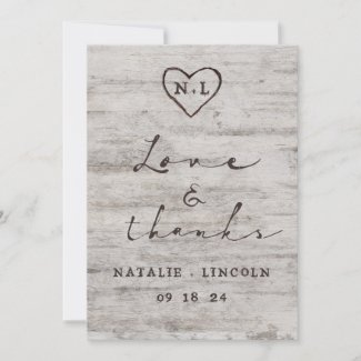 Carved Sweethearts Rustic Wedding Love and Thanks Thank You Card
