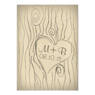 carved tree wood vintage save the date card