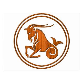 Carved Wood Capricorn Zodiac Symbol Postcard