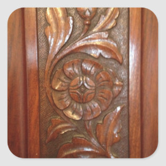 carved wood flower filigree pattern square sticker