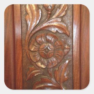 carved wood flower filigree pattern square sticker
