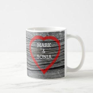 Carved Wood Hear Country Wedding Design Coffee Mug